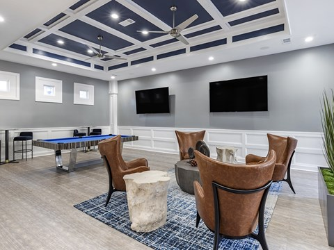 Clubhouse with pool table and seating