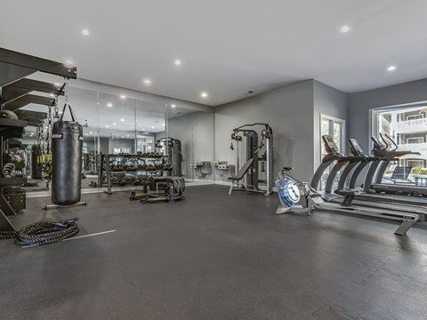 Fitness Center with aerobic equipment and weights
