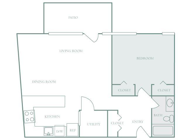 Harbor Hill A2 1 bedroom 2D floor plan