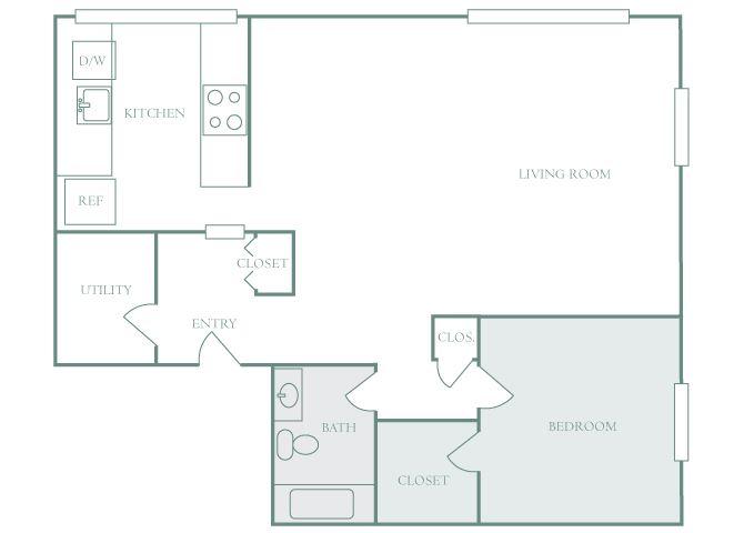 Harbor Hill A4 1 bedroom 2D floor plan
