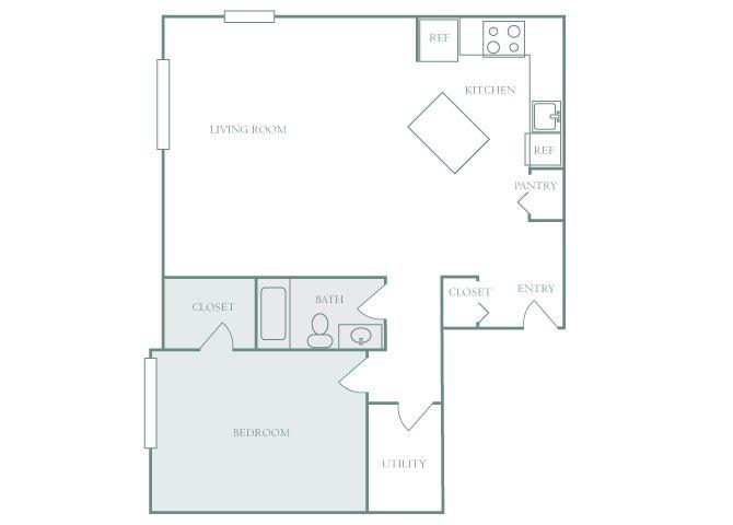 Harbor Hill A5 1 bedroom 2D floor plan
