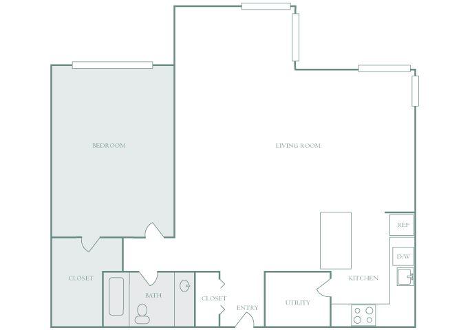 Harbor Hill A6 1 bedroom 2D floor plan