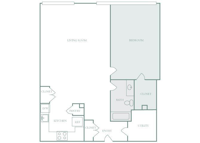 Harbor Hill A7 1 bedroom 2D floor plan