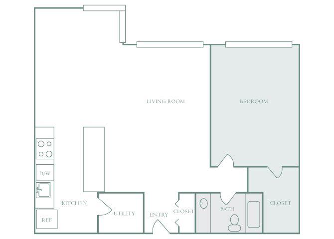 Harbor Hill A8 1 bedroom 2D floor plan