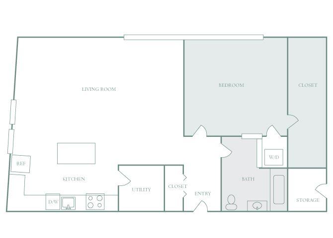 Harbor Hill A9 1 bedroom 2D floor plan