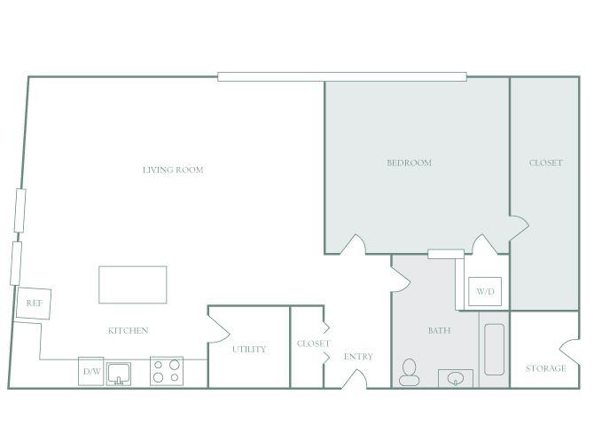 Harbor Hill A10 1 bedroom 2D floor plan