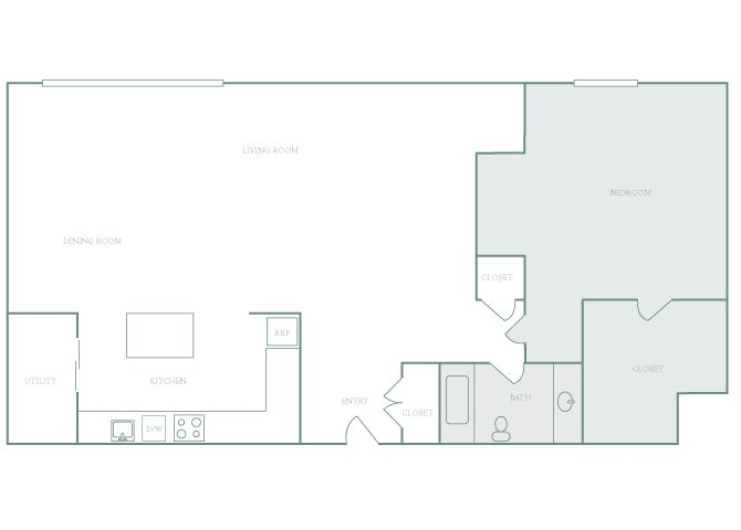 Harbor Hill A11 1 bedroom 2D floor plan