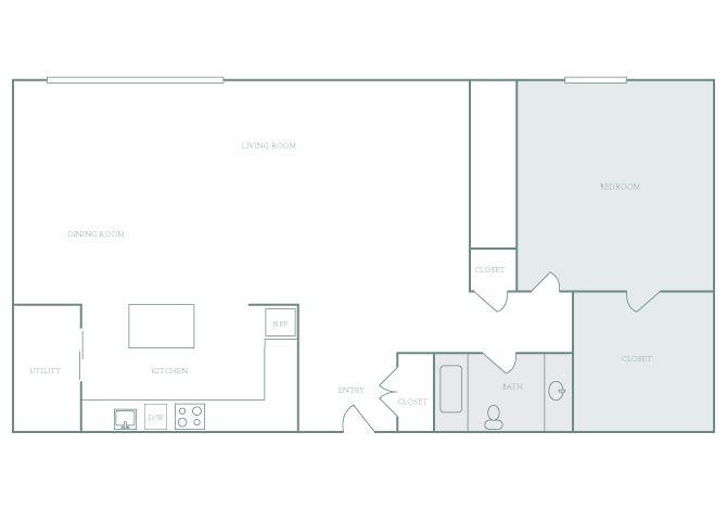 Harbor Hill A12 1 bedroom 2D floor plan