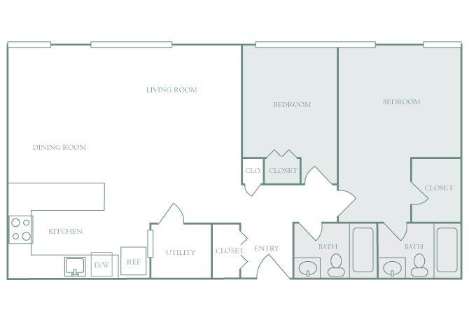 Harbor Hill B1 2 bedroom 2D floor plan