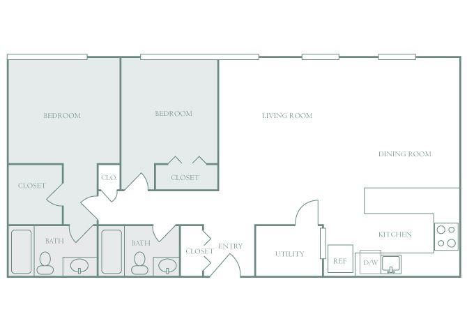 Harbor Hill B2 2 bedroom 2D floor plan