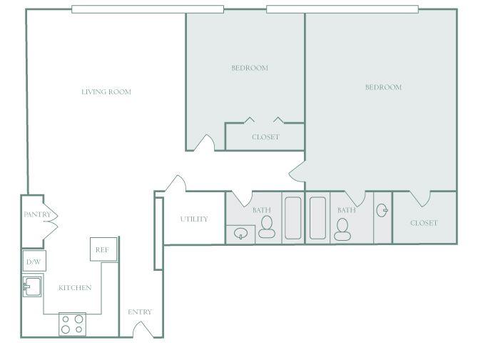 Harbor Hill B3 2 bedroom 2D floor plan