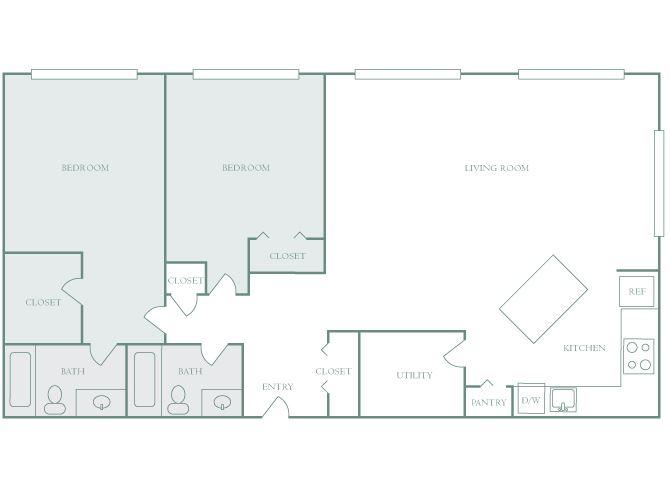 Harbor Hill B4 2 bedroom 2D floor plan