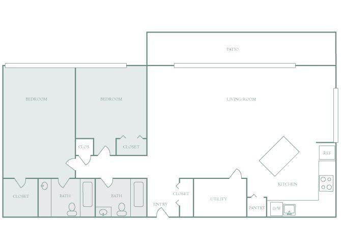Harbor Hill B5 2 bedroom 2D floor plan