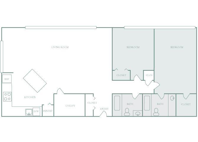 Harbor Hill B6 2 bedroom 2D floor plan