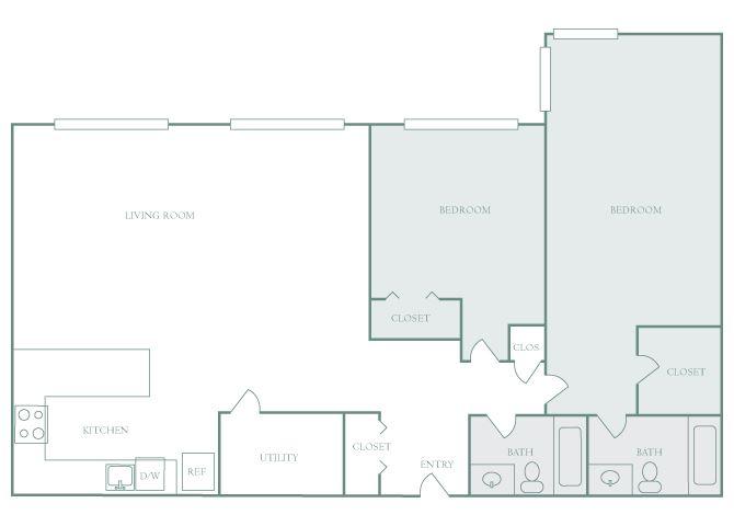Harbor Hill B7 2 bedroom 2D floor plan