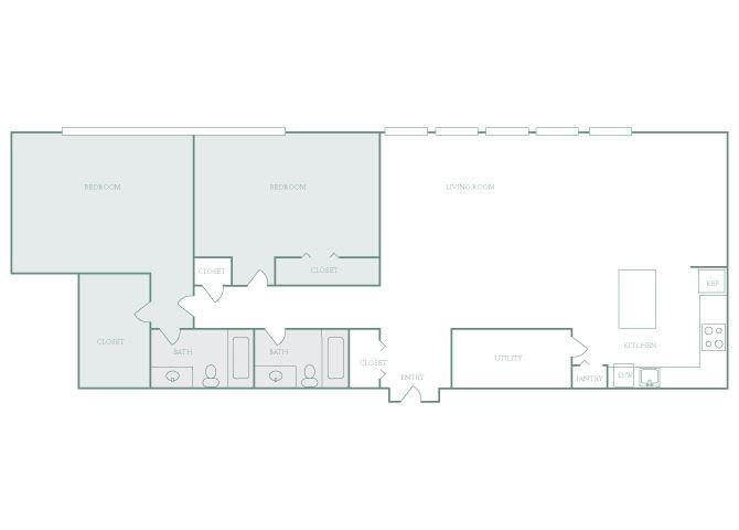Harbor Hill B8 2 bedroom 2D floor plan