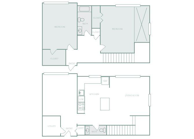 Harbor Hill B9 2 bedroom 2D floor plan