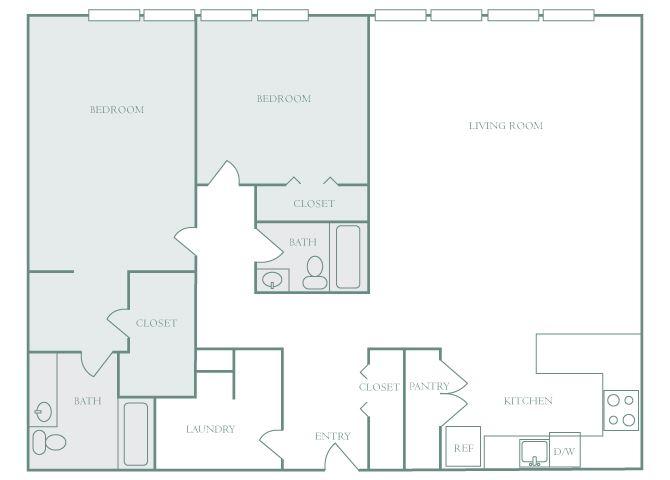Harbor Hill B10 2 bedroom 2D floor plan