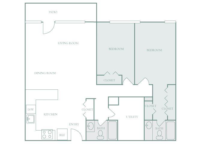 Harbor Hill B11 2 bedroom 2D floor plan