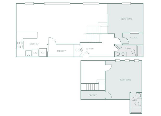 Harbor Hill B12 2 bedroom 2D floor plan