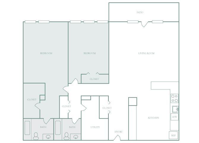 Harbor Hill B13 2 bedroom 2D floor plan