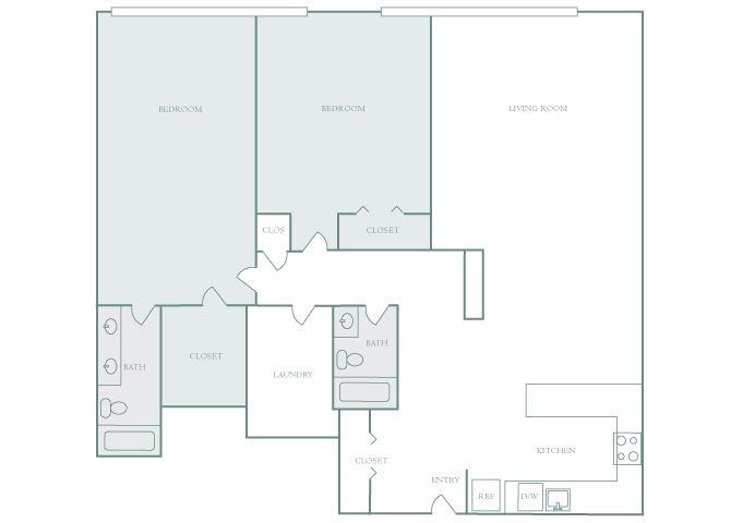 Harbor Hill B14 2 bedroom 2D floor plan