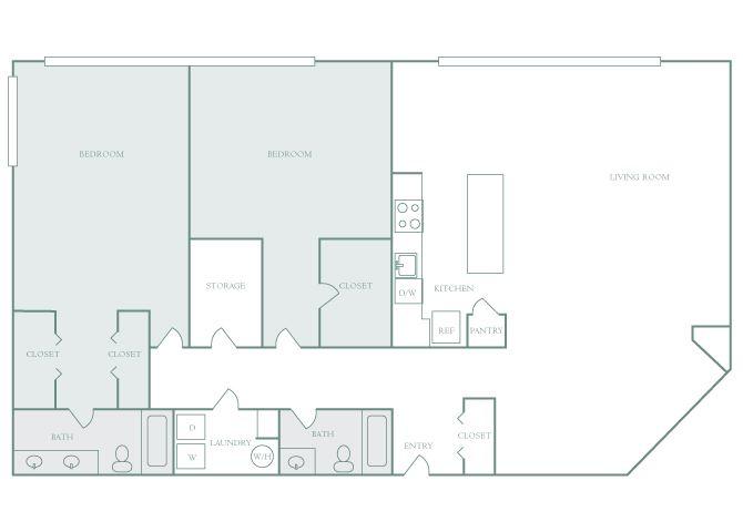Harbor Hill B15 2 bedroom 2D floor plan