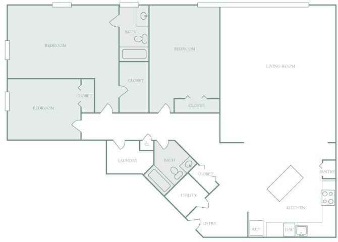 Harbor Hill C1 3 bedroom 2D floor plan