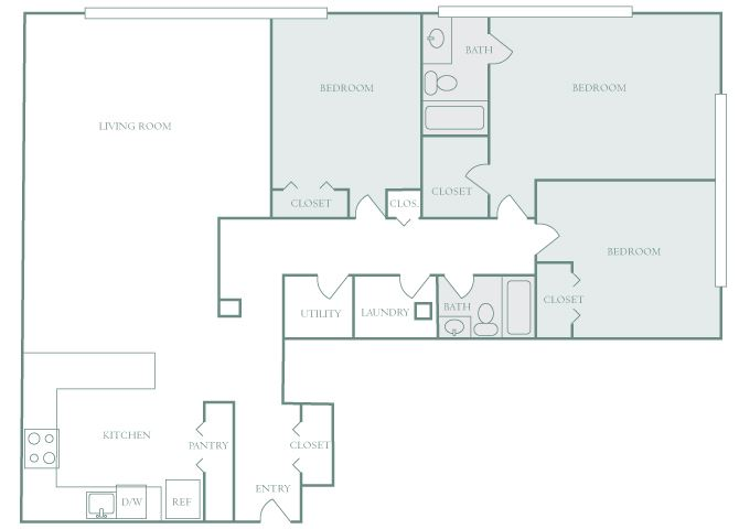 Harbor Hill C2 3 bedroom 2D floor plan