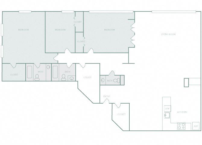 Harbor Hill C3 3 bedroom 2D floor plan