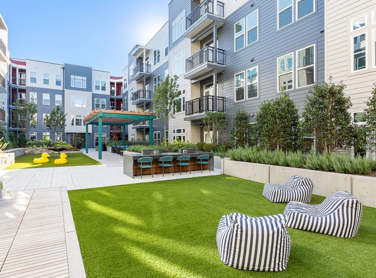 Green Lawn With Comfortable Seating at Cameron Square, Virginia, 22304