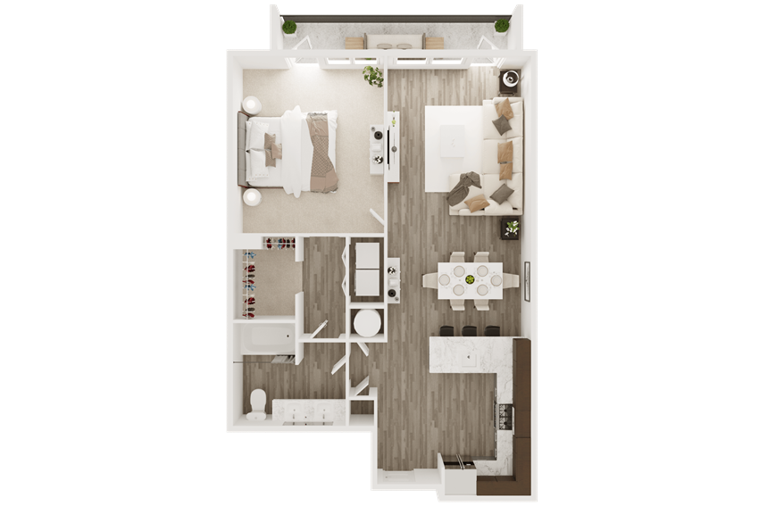smart home apartment with one bedroom and one bath
