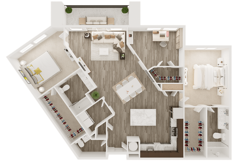 2 bedroom 2.5 bath apartment