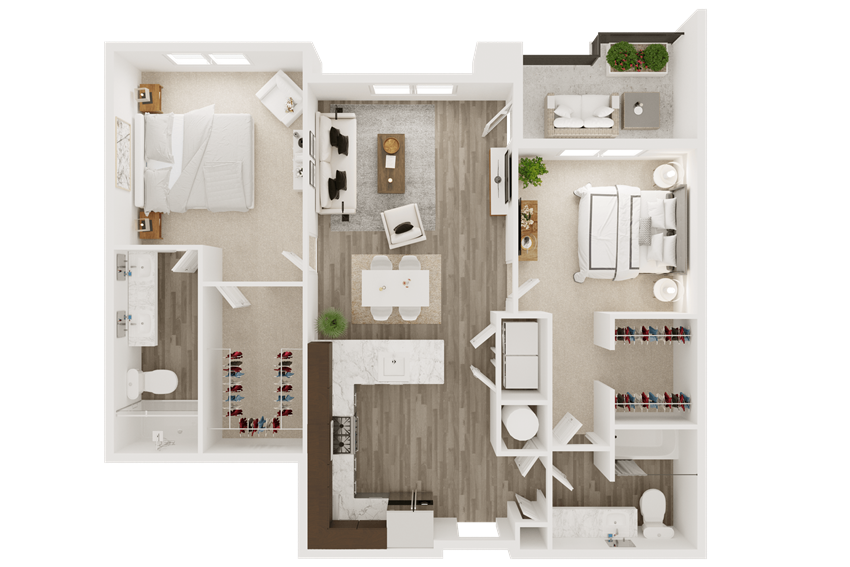 2 bedroom 2 bath smart home apartment