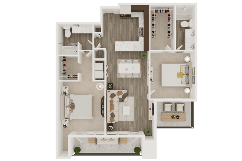 2 bedroom apartment with smart home features