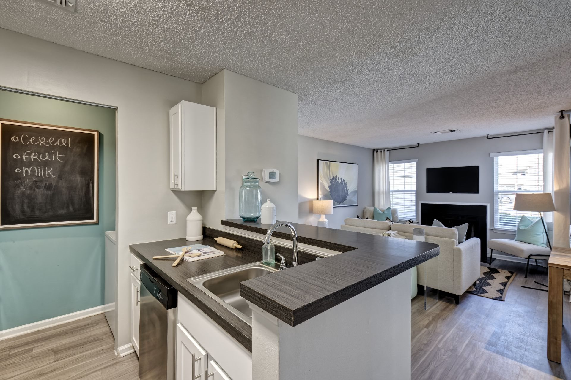 Newly Renovated 1, 2 and 3 Bedroom Apartments in Lawrenceville NJ with Chef's Kitchen, Stainless Appliances, Washer Dryer,  Open-Concept Living, Large Closets and Bedrooms with Work-From-Home Space and Spa Baths -1000 Steward Crossing Way Lawrenceville NJ 08646