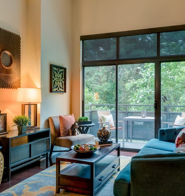 Living area with expansive windows eon at Lindbergh