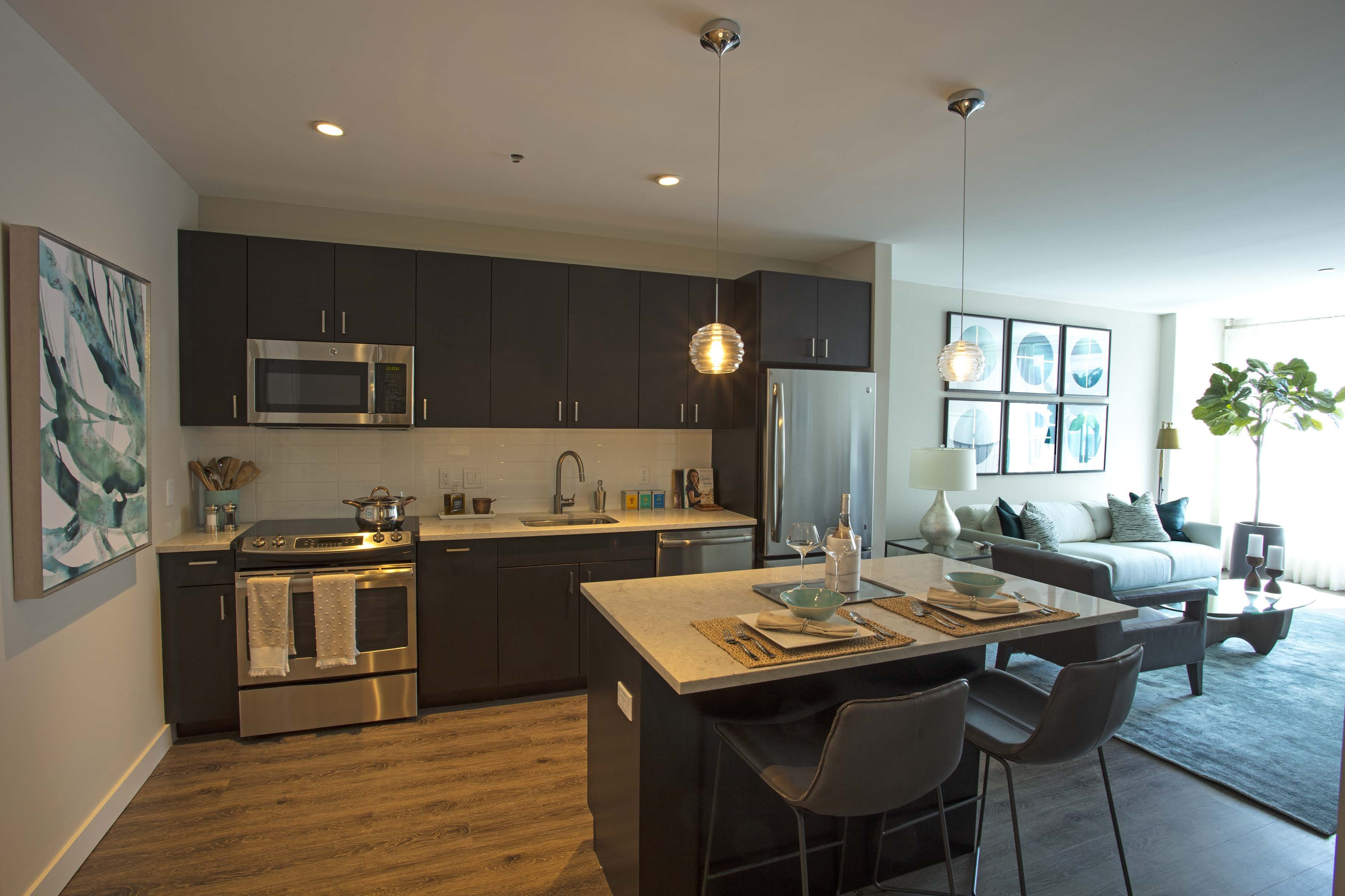 Luxury Dining Room and Kitchen View at Via Seaport Residences, Boston, Massachusetts