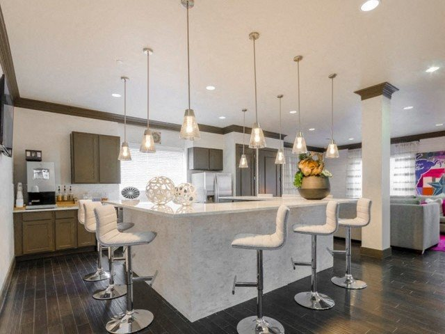 Fitted Kitchen With Island Dining at McKinney Square, McKinney, 75070