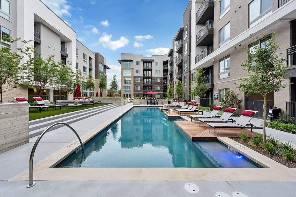 Extensive Resort Inspired Pool Deck at Addison TX