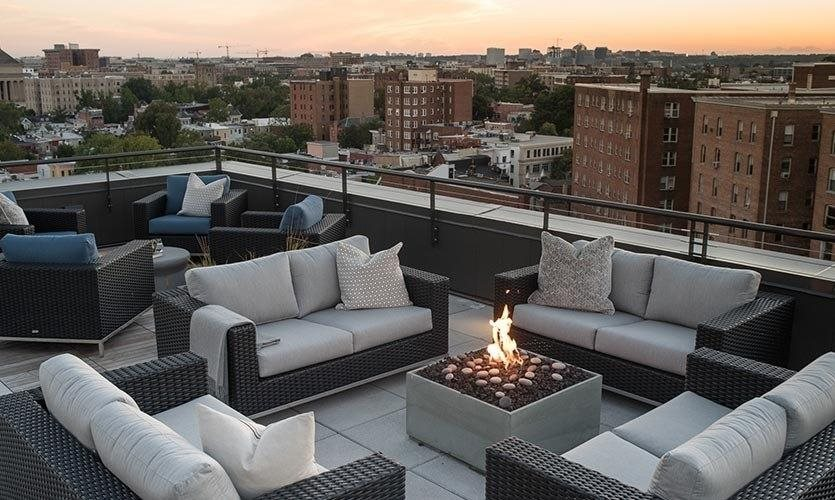 Berkshire 15 Apartments Roof Deck with Outdoor Living Room with Firepit  2011 15th Street N.W. Washington, D.C. 20009, New Apartments U Street DC