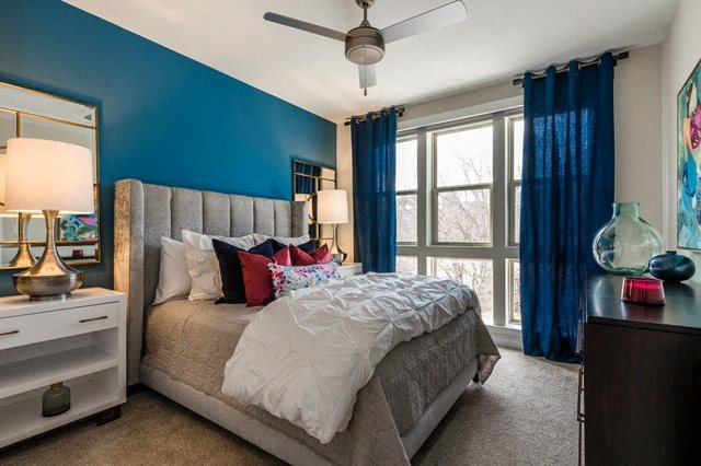 Bedroom with ceiling fan at Berkshire Chapel Hill, Chapel Hill, 27514