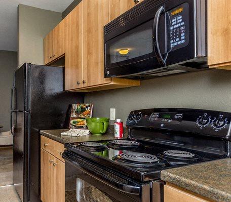 Berkshire Fort Mill kitchen with black appliances