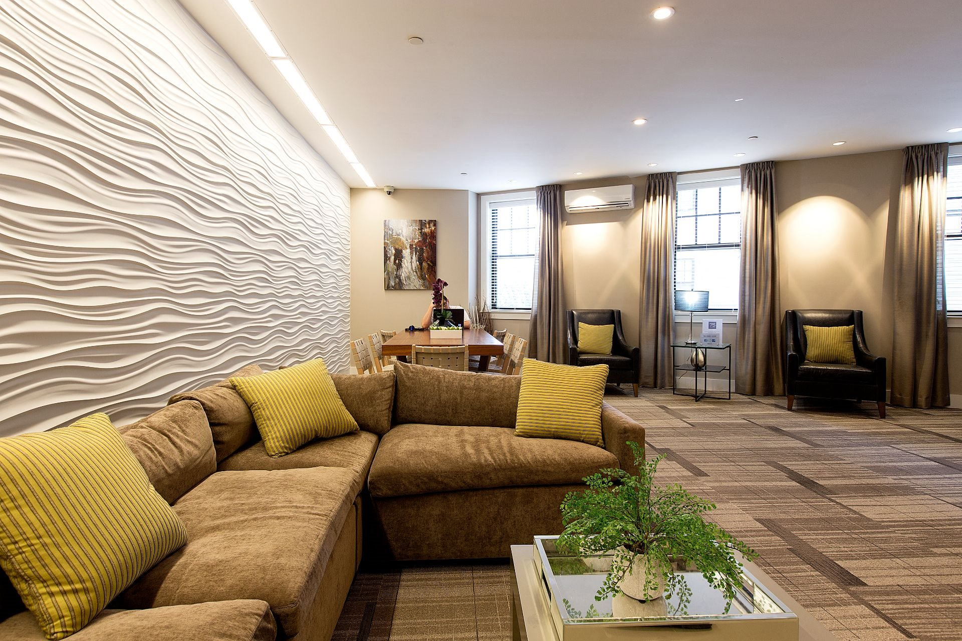 Beautifully Designed Resident Club Room and Lounge with Work-From-Home Spaces, Resident Lounge, Coffee Bar and Media Viewing Space at Gatehouse 75, Massachusetts
