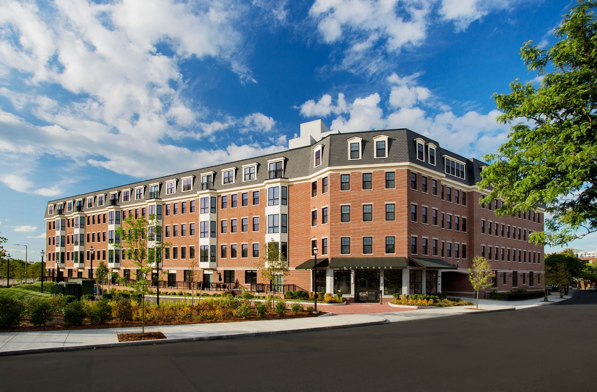 Exterior 5-Story Building with Beautiful Controlled Access Entrance and Garage Parking Entrance at Gatehouse 75, Massachusetts, 02129