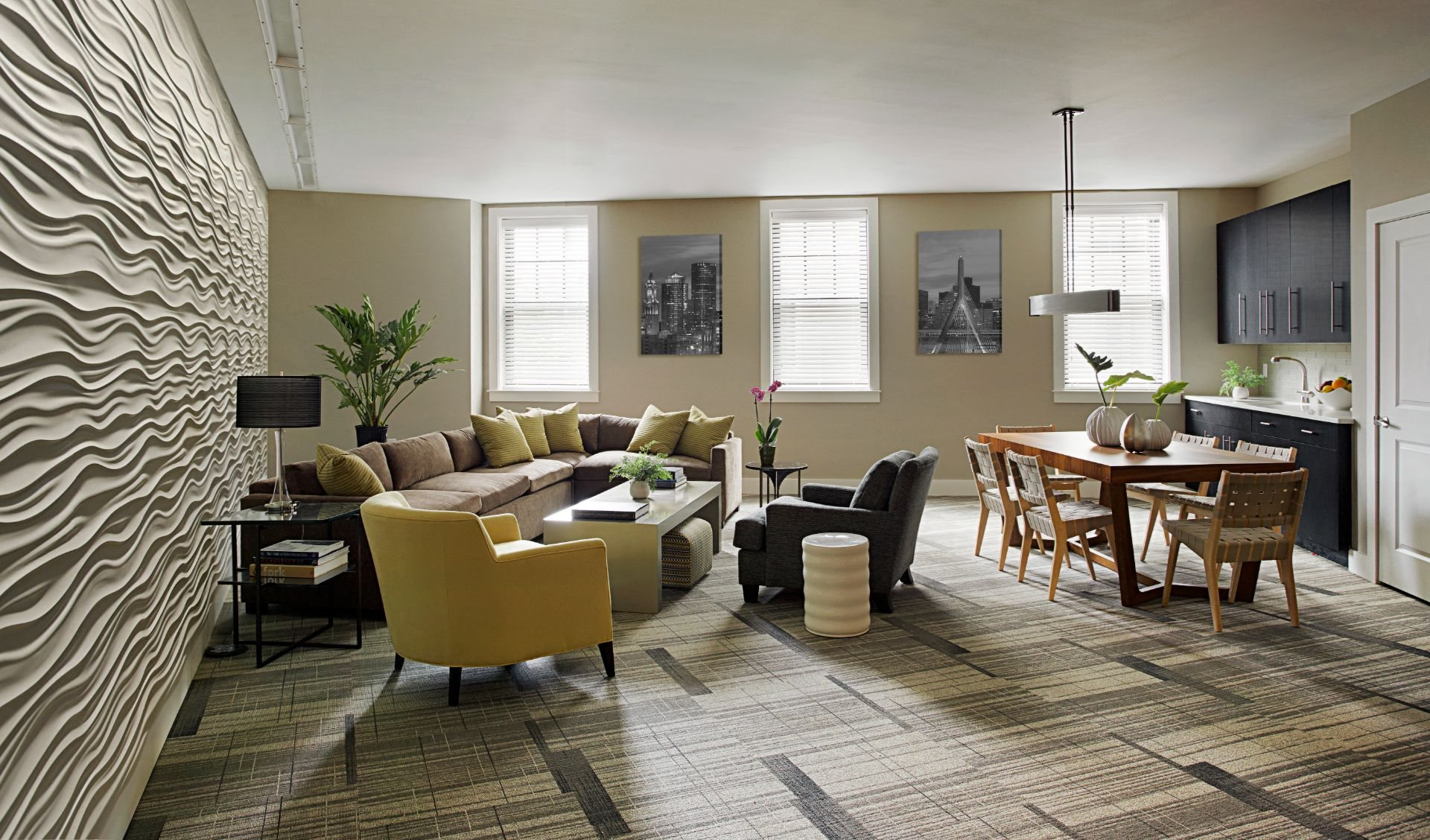 Beautiful Interior Designs in Resident Lounge and Club Room with Coffee Bar, Media Viewing Area and Resident Work Spaces at Gatehouse 75, Massachusetts