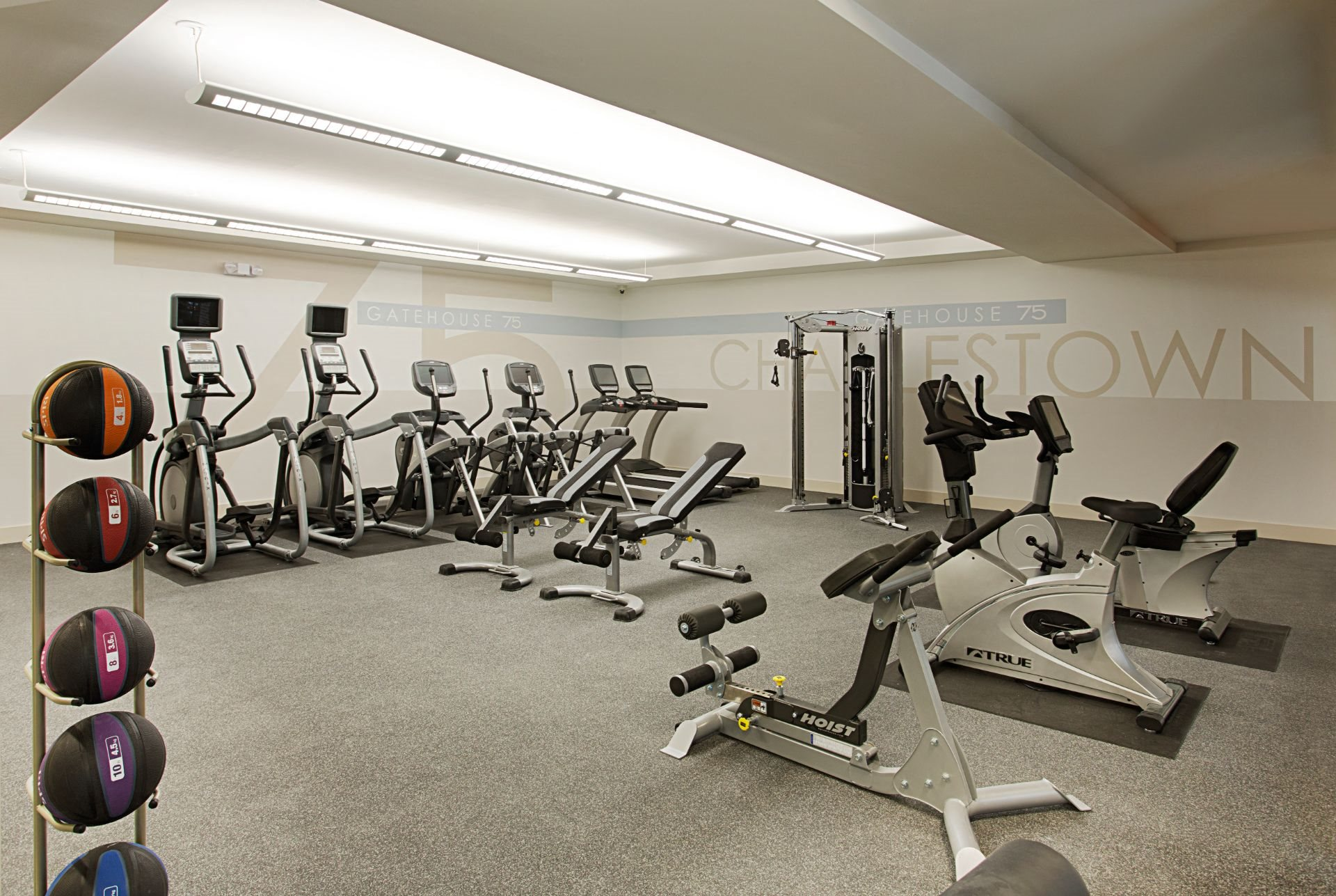 Fitness and Cardio Center with Treadmills, Elliptical Machines, Bikes, Leg Weights and Kettle Balls at Gatehouse 75, Charlestown