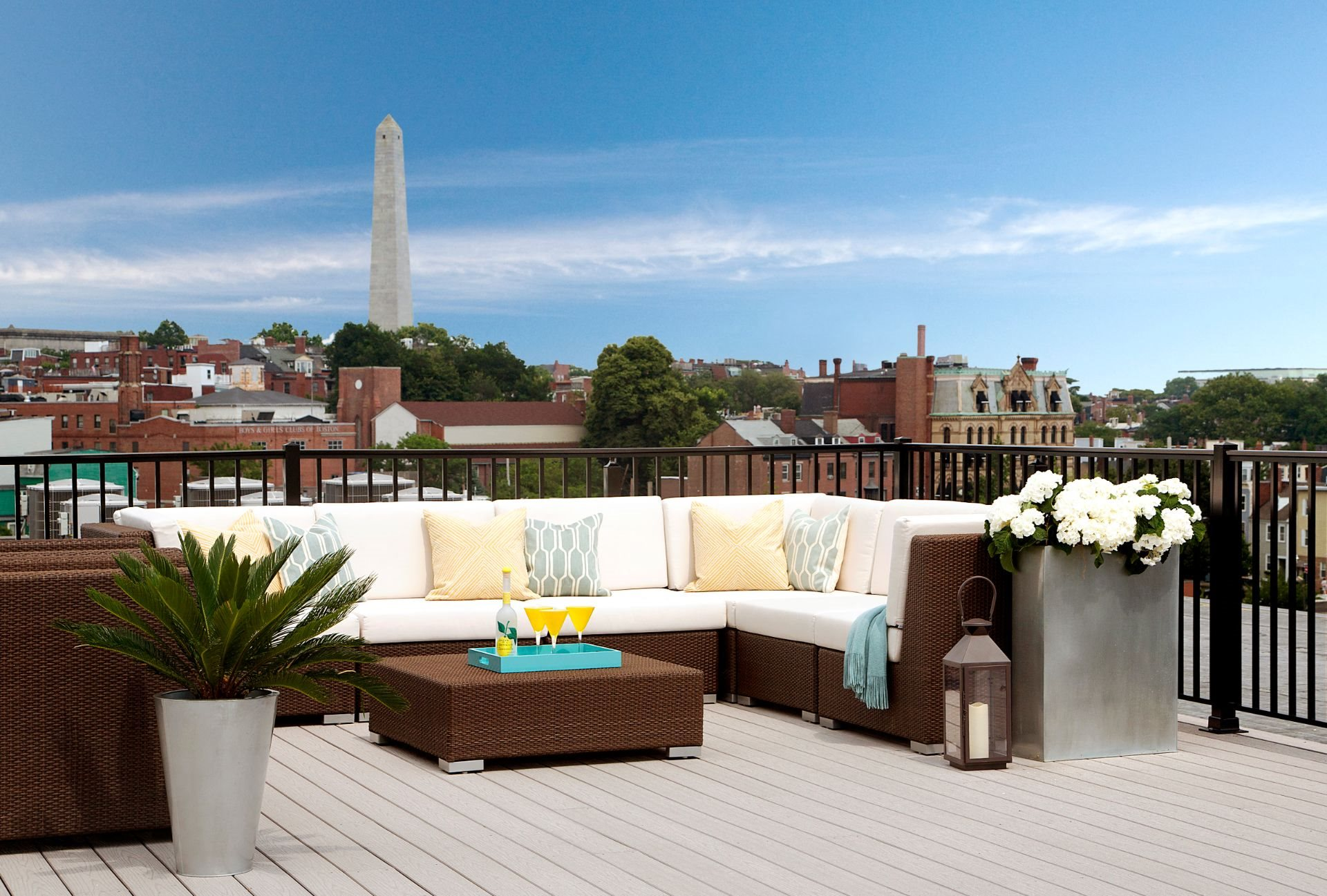 Rooftop Skydeck with outdoor living room and  Charming Views of Historic Charlestown, MA and Bunker Hill Monument at Gatehouse 75, Charlestown, 02129