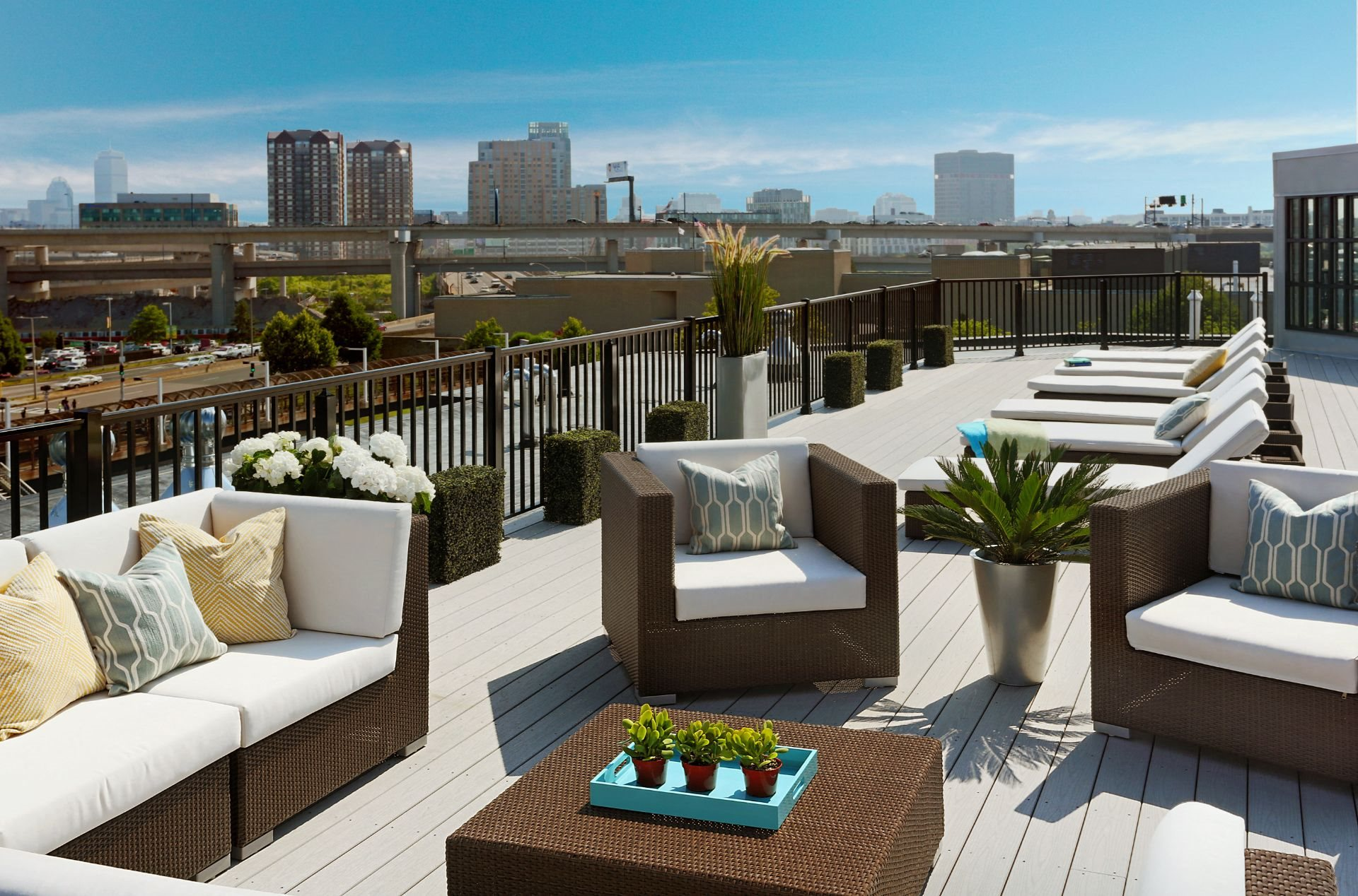 Rooftop Skydeck with Outdoor Living, Sundeck with Lounges and Spectacular Views of Boston City Skyline at Gatehouse 75, Charlestown, MA, 02129