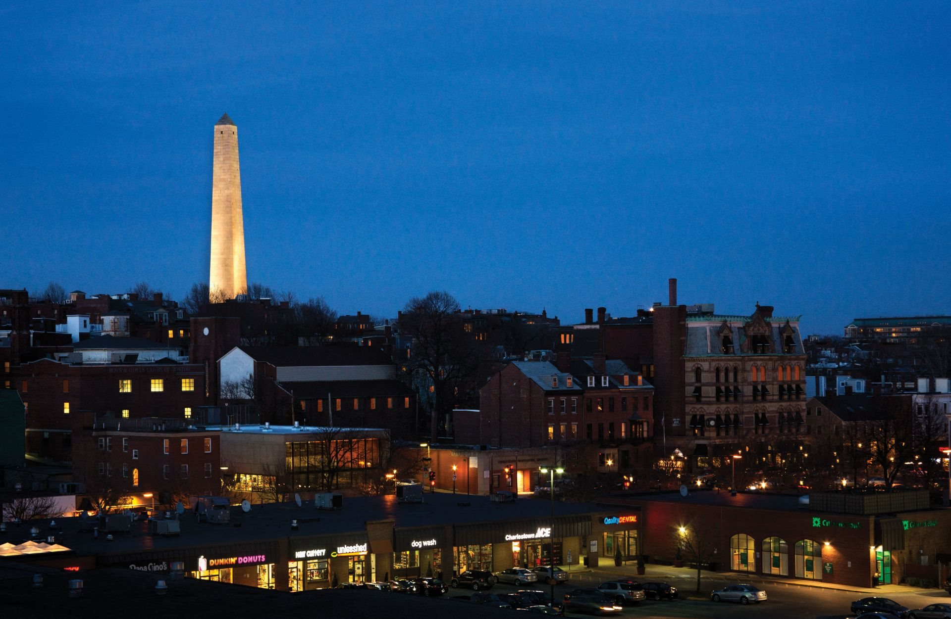 Charming Dusk and Nighttime Views of Charlestown MA and Bunker Hill Monument-at Gatehouse 75, Massachusetts, 02129